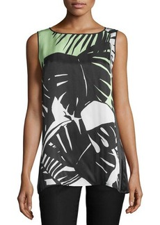 Lafayette 148 New York Merryn Sleeveless Printed-Front Blouse