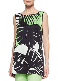 Lafayette 148 New York Merryn Sleeveless Tropical-Print Blouse