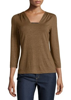 Lafayette 148 New York Metal-Bar Square-Neck 3/4-Sleeve Tee