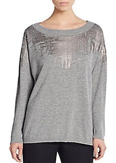 Lafayette 148 New York Metallic Detailed Wool Dolman Sweater