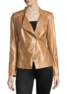 Lafayette 148 New York Metallic Leather Asymmetric Jacket