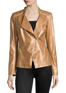 Lafayette 148 New York Metallic Leather Asymmetric Jacket, Copper