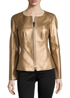 Lafayette 148 New York Metallic Leather Moto Jacket