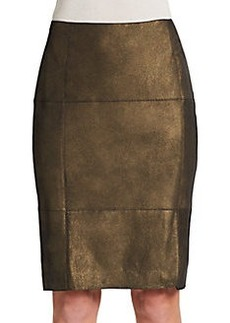 Lafayette 148 New York Metallic Leather Pencil Skirt