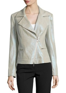 Lafayette 148 New York Metallic Linen-Blend Moto Jacket