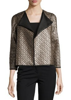 Lafayette 148 New York Metallic Long-Sleeve Topper, Black Multi