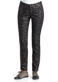 Lafayette 148 New York Metallic Snake Print Curvy Slim Leg Jeans in Chestnut Multi