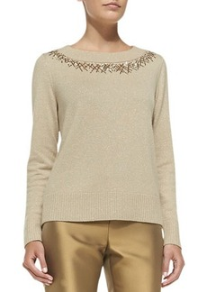 Lafayette 148 New York Metallic Sweater with Sequined Trim
