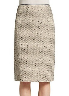 Lafayette 148 New York Metallic Tweed Straight Skirt
