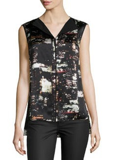 Lafayette 148 New York Metropolitan City Sleeveless Blouse, Black/Multi