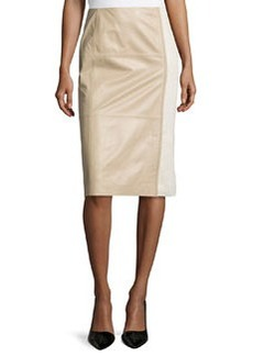 Lafayette 148 New York Midi-Length Combo Pencil Skirt, Pumice