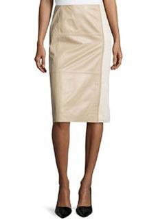 Lafayette 148 New York Midi-Length Combo Pencil Skirt, Pumice