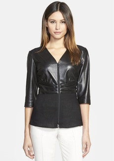 Lafayette 148 New York 'Miley' Nappa Leather & Linen Front Blouse