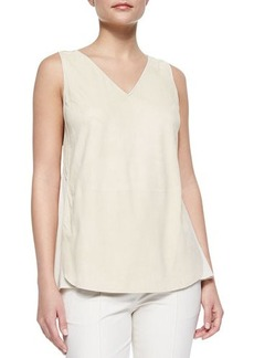 Lafayette 148 New York Minna Suede Silk Sleeveless Blouse  Minna Suede Silk Sleeveless Blouse