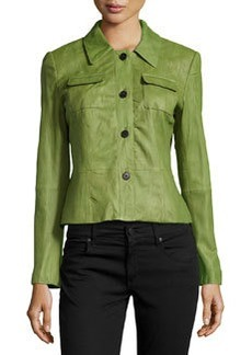 Lafayette 148 New York Miriam Crinkled Lambskin Leather Jacket, Chive