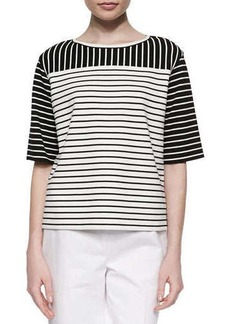 Lafayette 148 New York Mix-Striped Half-Sleeve Blouse