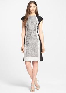 Lafayette 148 New York Mixed Media Jacquard Sheath Dress