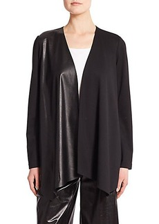 Lafayette 148 New York Mixed-Media Punto Milano Waterfall Jacket