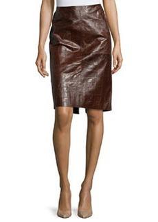 Lafayette 148 New York Modern Croc-Embossed Leather Pencil Skirt, Chestnut