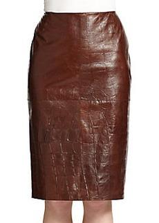 Lafayette 148 New York Modern Croc-Embossed Leather Skirt