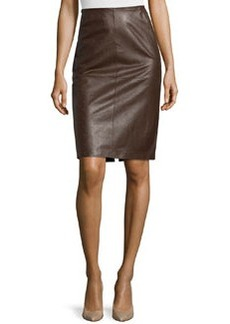 Lafayette 148 New York Modern Leather Pencil Skirt, Chestnut