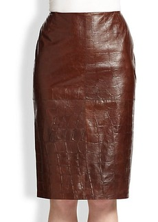 Lafayette 148 New York Modern Slim Crocodile Skirt