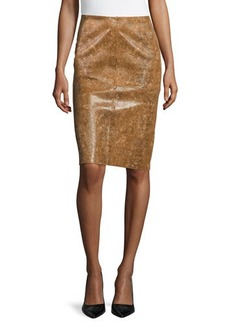 Lafayette 148 New York Modern Slim Leather Skirt, Ochre Multi