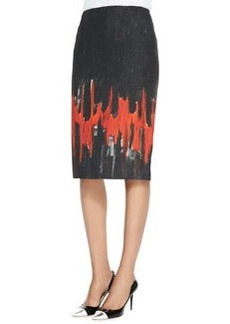 Lafayette 148 New York Modern Slim Skirt with Flame Print