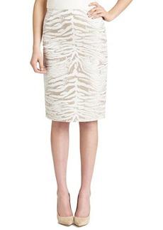 Lafayette 148 New York Modern Slim Zebra-Print Skirt, Khaki/White