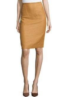 Lafayette 148 New York Modern Textured Pencil Skirt, Saddle