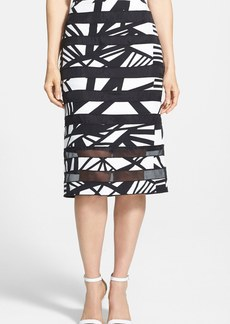 Lafayette 148 New York 'Modmix' Print Silk Pencil Skirt