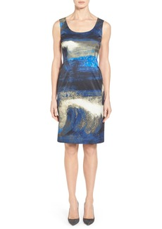 Lafayette 148 New York 'Moonlit Wave Rebecca' Print Scoop Neck Sheath Dress