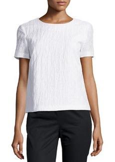 Lafayette 148 New York Morgan Circle-Pattern Short-Sleeve Top, White
