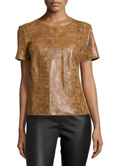 Lafayette 148 New York Morgan Short-Sleeve Leather Top