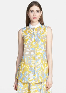 Lafayette 148 New York 'Nadie' Print Sleeveless Linen Blouse
