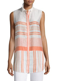 Lafayette 148 New York Nadie Sleeveless Button-Front Blouse