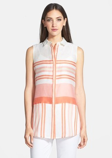 Lafayette 148 New York 'Nadie' Stripe Linen & Silk Blouse