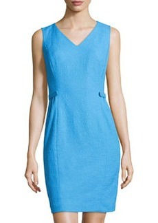 Lafayette 148 New York Naya Crepe V-Neck Knit Dress, Waterfall