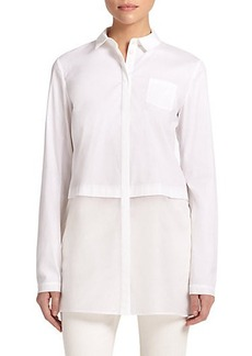Lafayette 148 New York Neptune Sheer-Combo Blouse