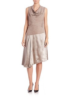 Lafayette 148 New York Nia Suede & Silk Dress