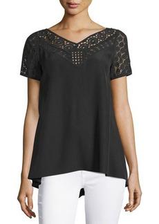 Lafayette 148 New York Nicole Short-Sleeve Silk Blouse w/ Crocheted Yoke  Nicole Short-Sleeve Silk Blouse w/ Crocheted Yoke