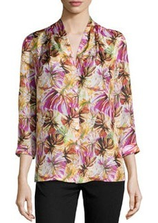 Lafayette 148 New York Niely Floral-Print Silk Blouse, Spectrum Multi