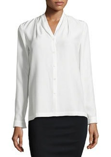 Lafayette 148 New York Niely Pleated Silk Blouse, Cloud