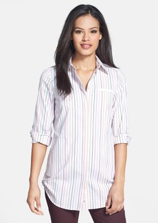 Lafayette 148 New York 'Niko' Button Tab Hem Stripe Shirt