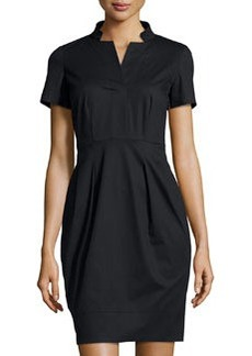Lafayette 148 New York Notched-Collar Short-Sleeve Dress, Black
