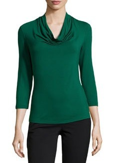 Lafayette 148 New York Nouveau Cowl-Neck Jersey Tee, Emerald