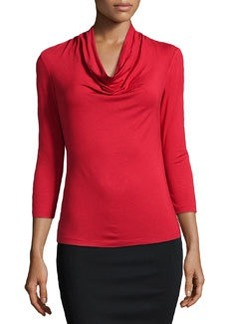 Lafayette 148 New York Nouveau Cowl-Neck Jersey Tee, Red