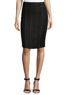Lafayette 148 New York Novelty Trestle-Woven Modern Slim Skirt, Black