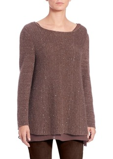 Lafayette 148 New York Nuage Paillettes Layered Cashmere & Silk Sweater