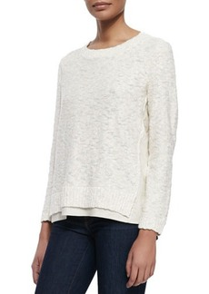 Lafayette 148 New York Nubby Sweater W/Linen Trim, Raffia